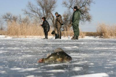 зимняя рыбалка, лед